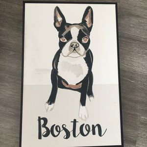 "Boston terrier wall art / canvas decor 24"" x 16"""
